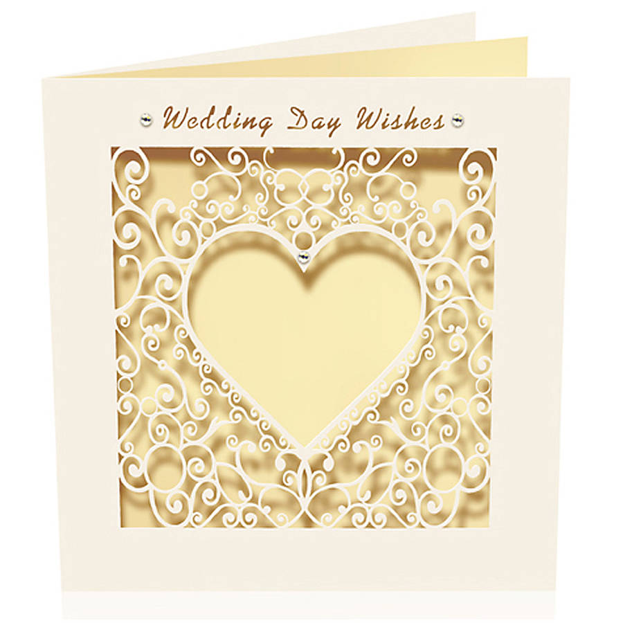 Wedding Day Gift Card : cut card delicate wedding day wishes by pink pineapple home & gifts ...