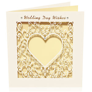 Laser Cut Card Delicate Wedding Day Wishes - wedding cards