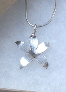 Tiny Silver Flower Pendant