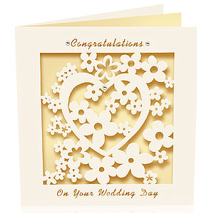 Laser Cut Card Congratulations Wedding Day - wedding cards