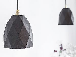Concrete Pendant Light Handcrafted T1dark - office & study