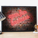 Personalised Neon 'Open For Business' Poster