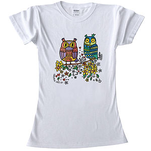 Colour In Teenage T Shirt Owl Pair - loungewear