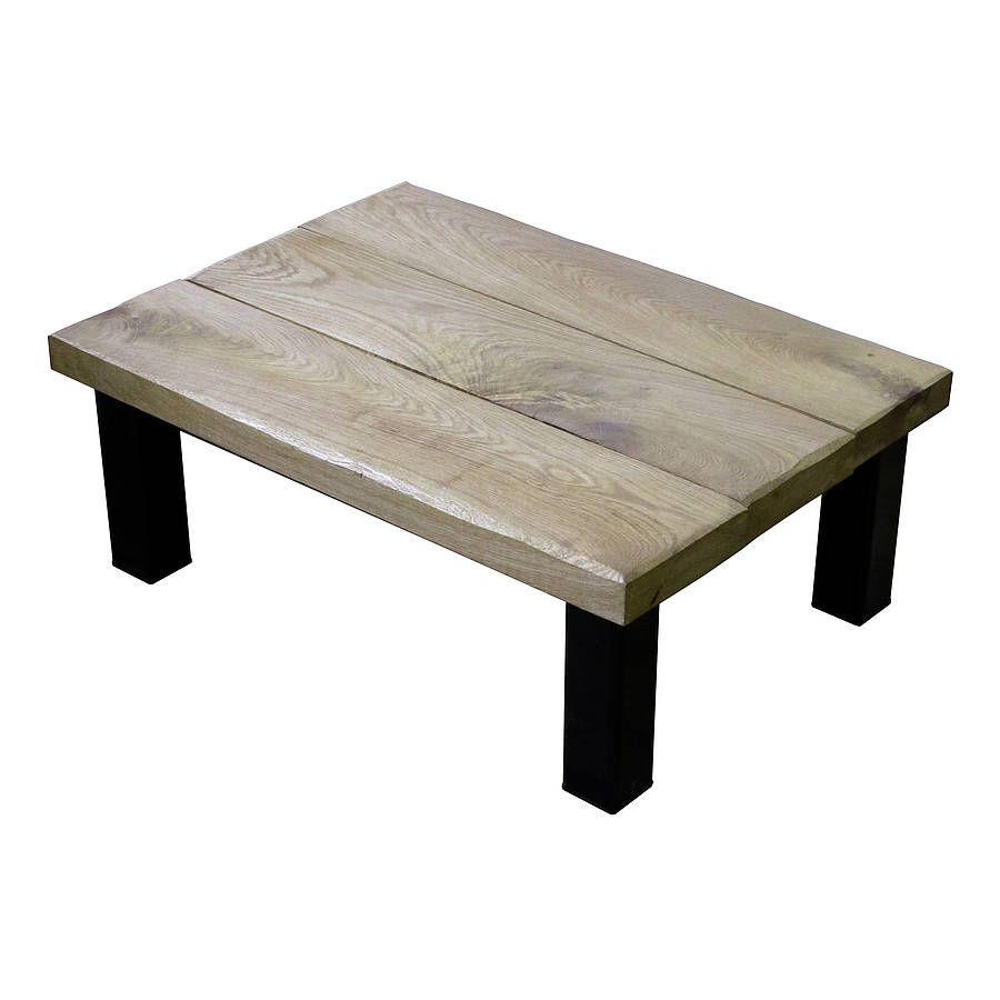 Oak and iron thin coffee table by oak iron furniture Wide coffee table