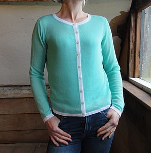 Crew Cardigan With Contrast Ribs