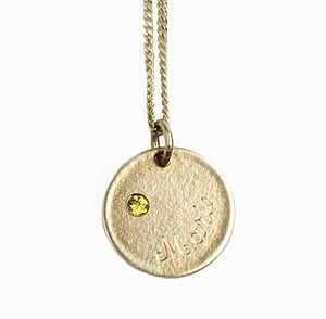 Personnalised 9ct Solid Gold Medal With Gemstone