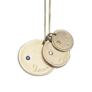9ct Gold Three Medal Necklace With Set Stones