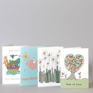 Four Pack Of Illustrated Cards