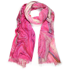 Bologna Marble Print Wool Silk Scarf - hats, scarves & gloves