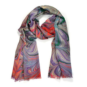 Borromeo Marble Print Wool Silk Scarf - hats, scarves & gloves