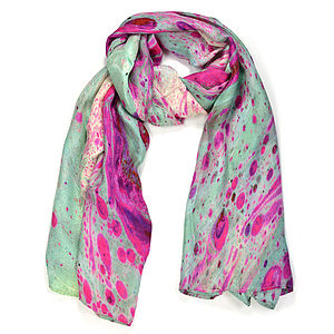 Quartz Marble Print Silk Scarf - marble inspired trend