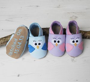 Personalised Bird Baby Shoes - for under 5's