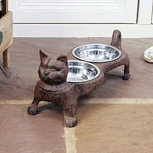Iron Cat Food And Water Stand - food, feeding & treats