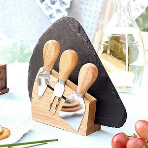 Alfresco Slate Cheese Board And Cheese Knives Gift Set - outdoor entertaining