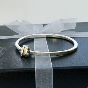 Personalised Silver Bangle With Triangle Charms
