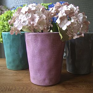 Coloured Crackle Glaze Planter - pots