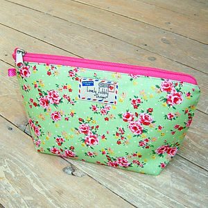 Floral Rose Chintz Makeup Toiletry Wash Bag