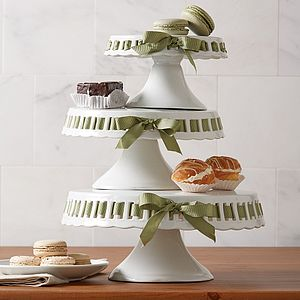 Three Tiered Cakestand With Green Ribbon