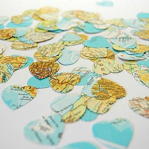 Map Heart Table Confetti - confetti, petals & sparklers
