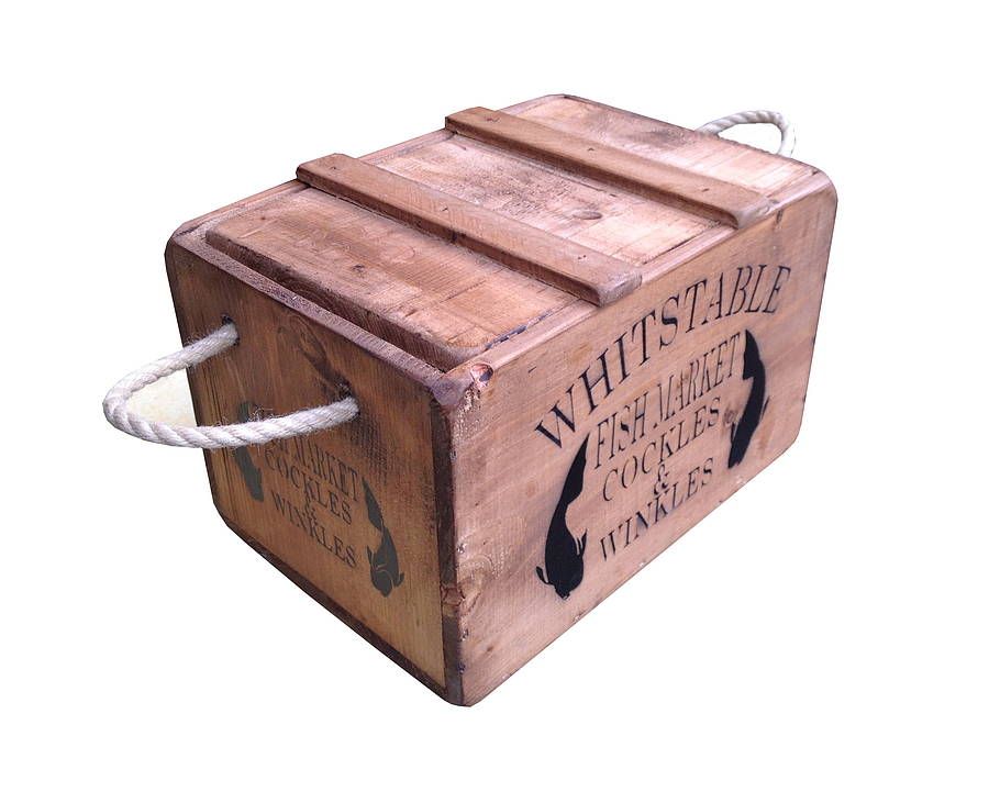 Wooden Whitstable Crate With Lid By Bryonie Porter