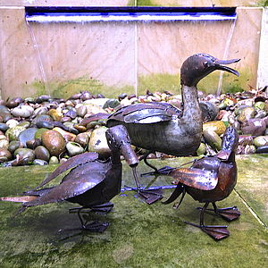 Recycled Metal Garden Duck Sculpture - art & decorations