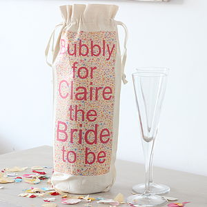 Personalised Printed Bride To Be Bottle Bag - wedding stationery