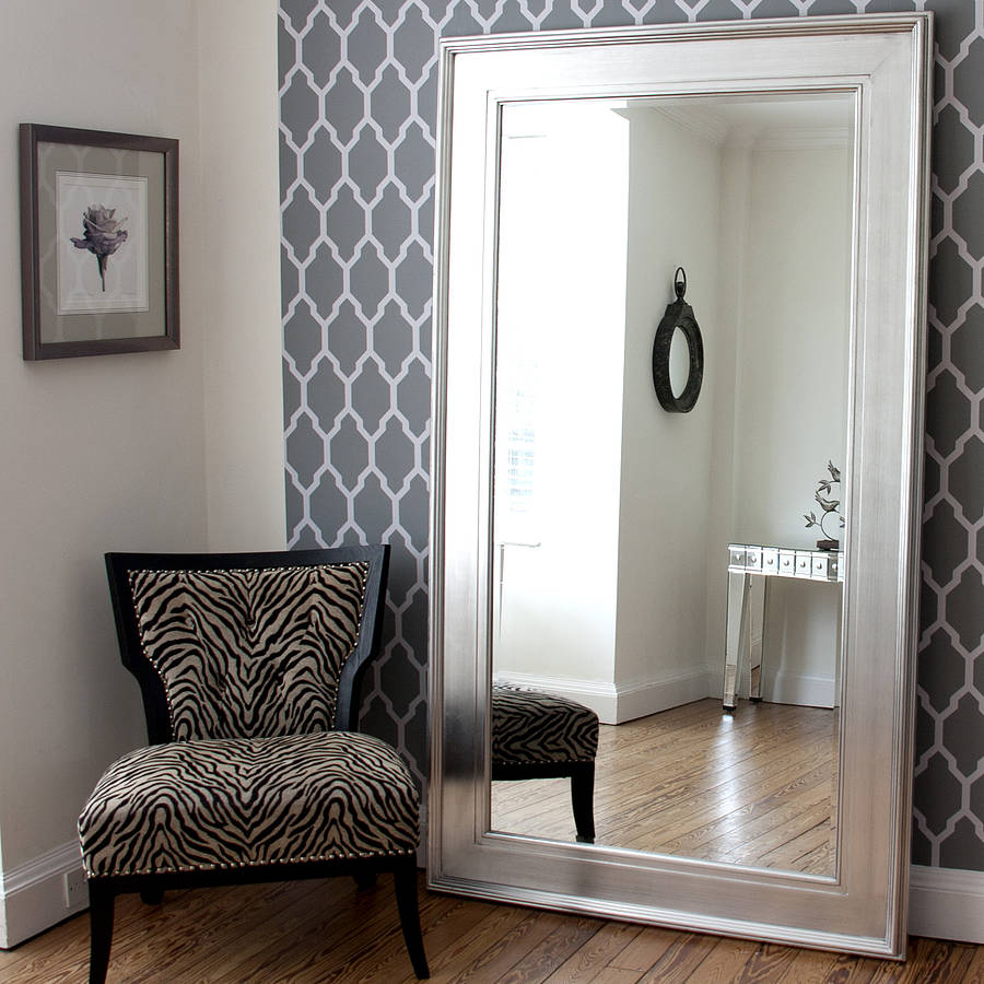 Black silver wide framed mirror by decorative mirrors for Large framed mirrors for walls