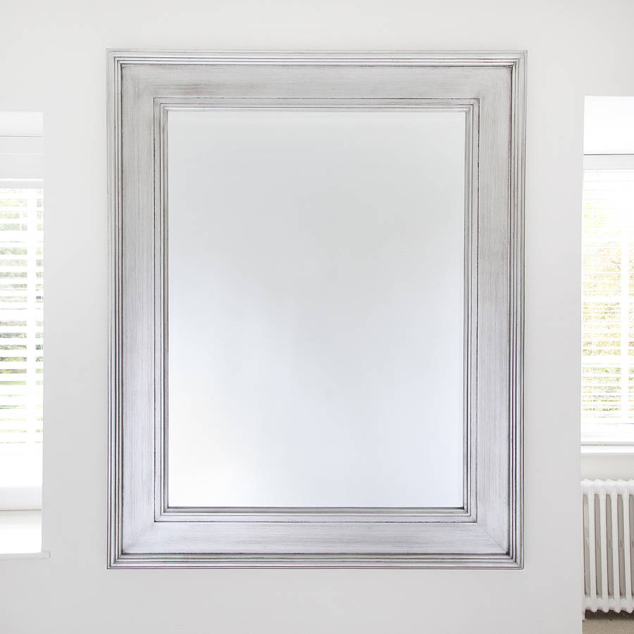Black Silver Wide Framed Mirror