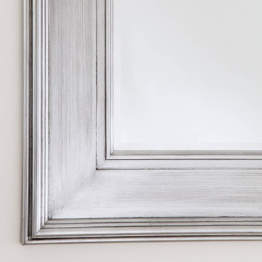 Black silver wide framed mirror by decorative mirrors for Large portrait mirror