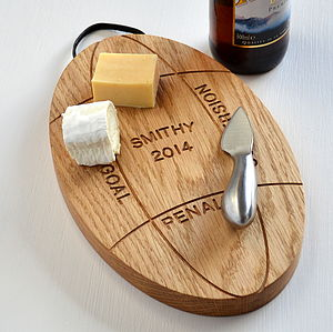 Personalised Engraved Oak Rugby Ball Platter - Rugby World cup