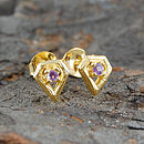Gold Amethyst Diamond Stud Earrings