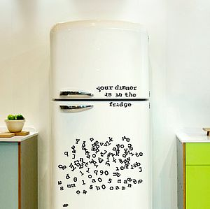 Typewriter Font Fridge Magnets - kitchen