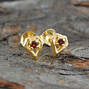 Gold Garnet Diamond Stud Earrings