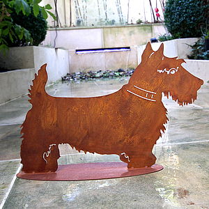 Lifesize Rusted Scottie Garden Sculpture - art & decorations