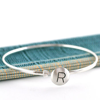 Personalised Silver Initial Bangle