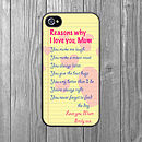 Reasons To Love Mum iPhone Case