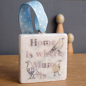 'Home Is Where Mum Is' Blackbird Decoration - hanging decorations