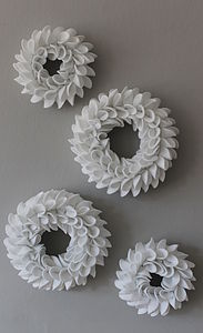 Decorative White Felt Wreath - bunting & garlands