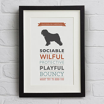 Old English Sheepdog Traits Print