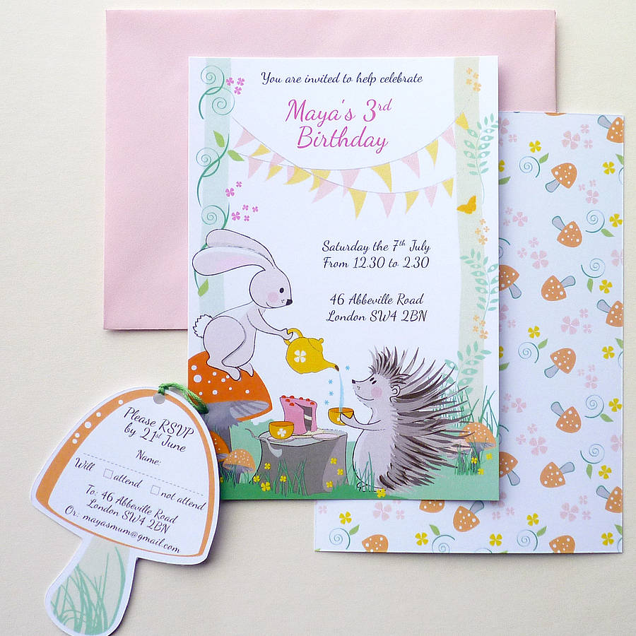 woodland birthday party invitation by ink pudding