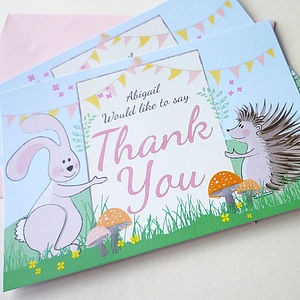 20 Woodland Thank You Cards - thank you cards