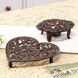6th Anniversary Cast Iron Heart Trivet And Hot Plate - votives & tea light holders