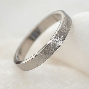Textured Wedding Ring In 18ct White Gold - fine jewellery