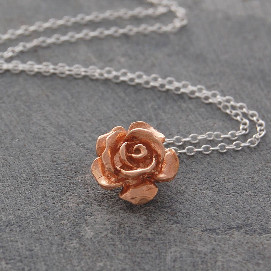 rose gold flower sterling silver necklace by otis jaxon. Black Bedroom Furniture Sets. Home Design Ideas