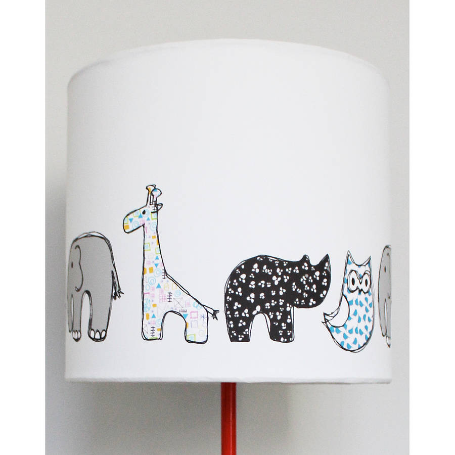 Handmade animal nursery lampshade by martha and hepsie childrens lampshade aloadofball