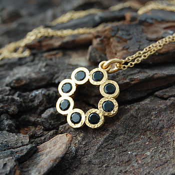 Gold And Black Spinel Rosette Pendant