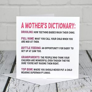 Mother's Dictionary Mother's Day Card - gifts for new mums