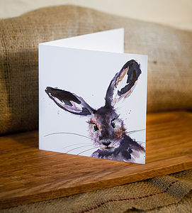 Inky Hare Blank Greetings Card