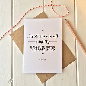 Literary Quote 'Mother' Greetings Card - funny cards