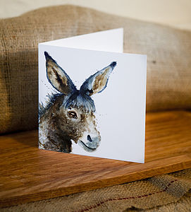 Inky Donkey Blank Greetings Card - cards